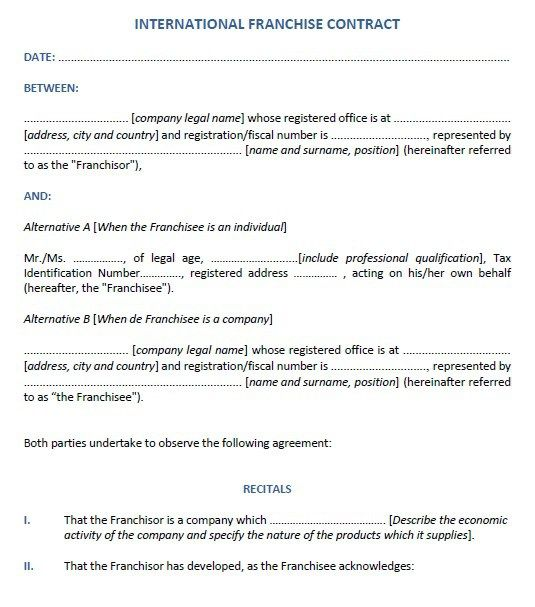 Franchising Agreement  Stationary Templates