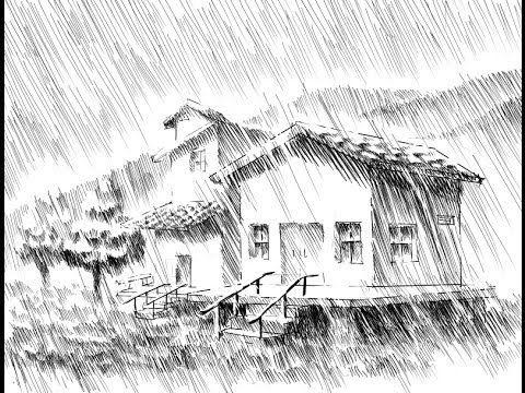 Como Entintar Una Escena Con Lluvia Parte 1 2 Paisajes Dibujos Dibujos Lluvia Dibujos