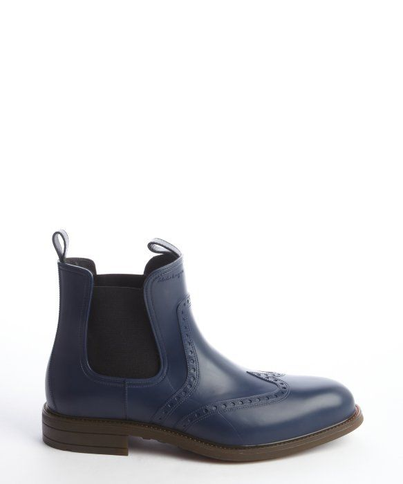79ab6cde13fd Ferragamo Blue Rubber Tooled Wingtip Rain Boots in Blue for Men ...