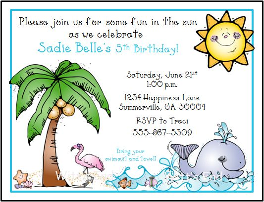 Beach Birthday Invitations Ideas For Evan Party Invitation Wording Free Printable