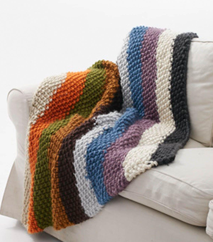 Stripe Mega Bulky Blanket - Free Knitted Pattern - (joann ...