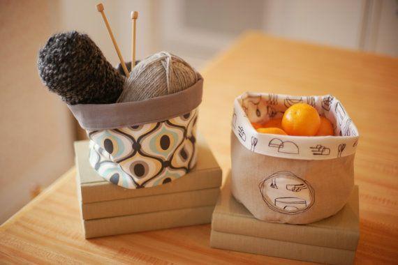 Reversible Fabric Storage Bucket Saule print Gray by NikJDesigns