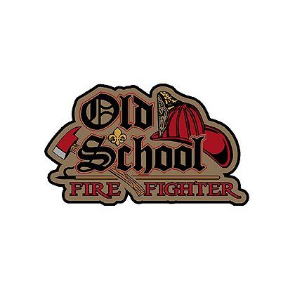 "Old School Firefighter, 2""-  Are you old school? This decal makes a perfect gift for the ""Old School Firefighter"". Multi-colored, features a fire helmet and axe. Available in 2"". #TheFireStore"