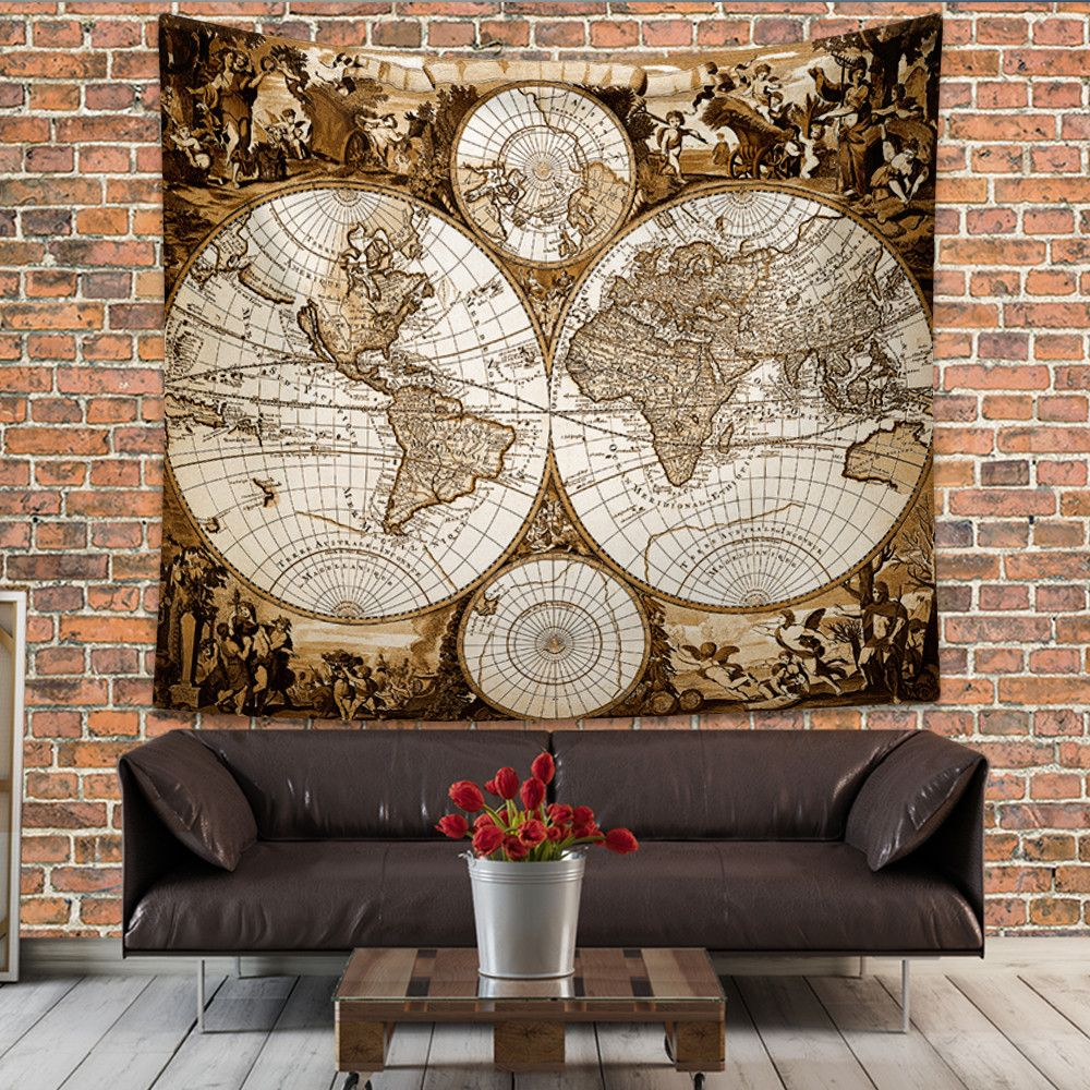 Antique world map wall tapestry ancient world map wall hanging antique world map wall tapestry ancient world map wall hanging vintage old map wall decor steampunk wall art print gumiabroncs Images