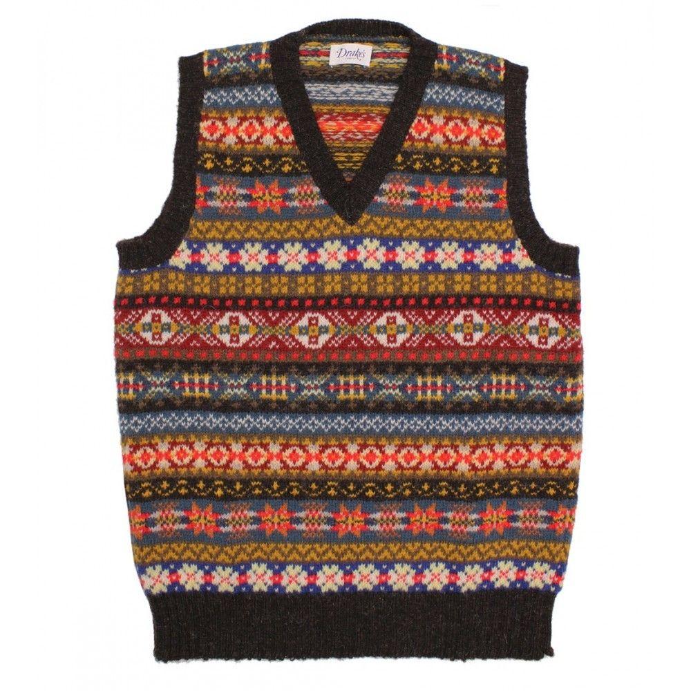 Sleeveless shetland wool fairisle v neck pullover drakes sleeveless shetland wool fairisle v neck pullover drakes bankloansurffo Image collections