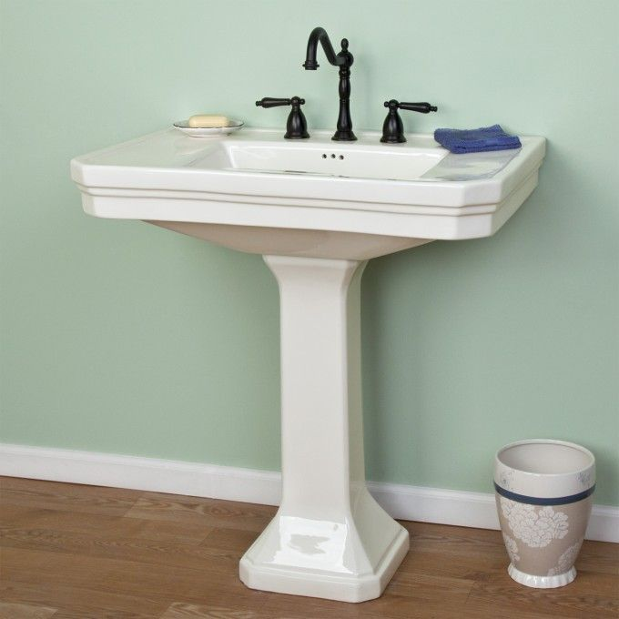 Kacy Pedestal Sink With 8 Centers Bathroom Sinks Bathroom Sig Hardware Pedestal Sink Bathroom Pedestal Sinks Pedestal Sink