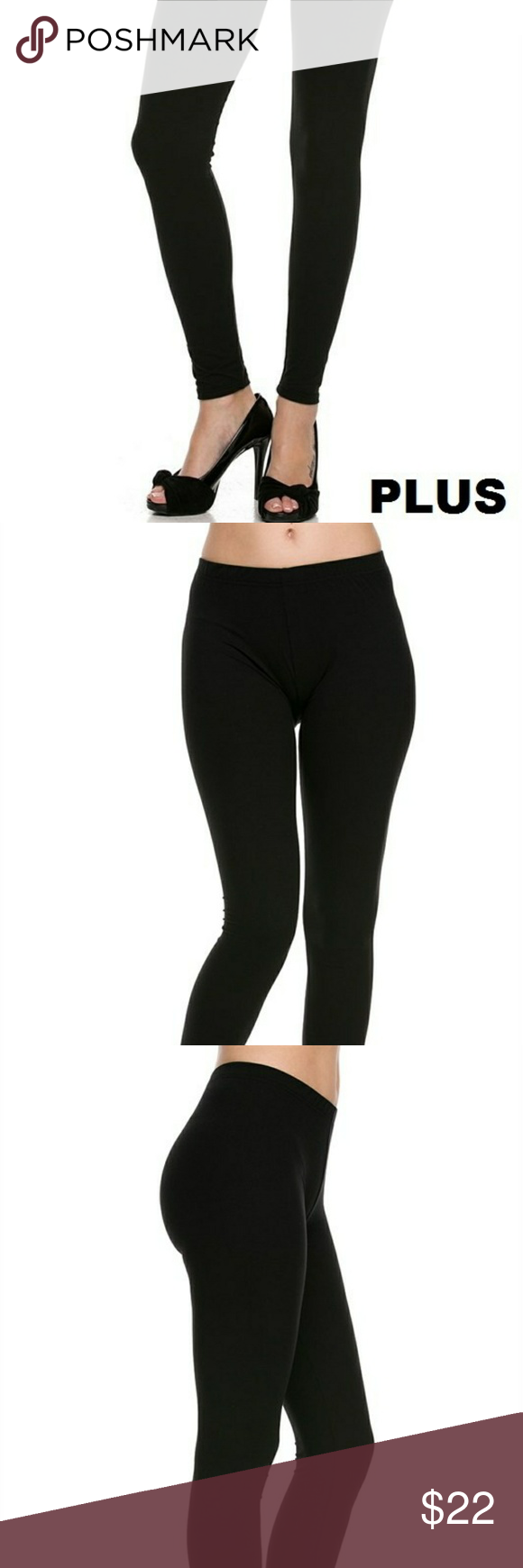 3f2a5d15a270a PLUS SIZE Black Brushed Knit Leggings 🎉 COMING PLUS: Brushed Floral Print  Ankle Leggings.