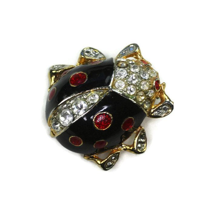 Perfect Cute As Could Be Black Enameled Ladybug Pin Has Clear Rhinestone Crystals  On Back And Front With Red Crystal Eyes And Red Rhinestones On Wings The  Red ...
