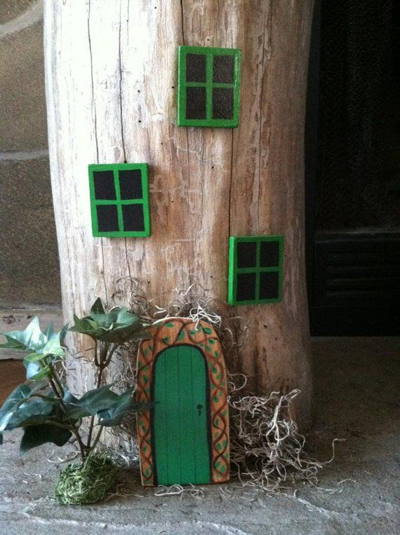Fairy doors and windows, 1 green fairy door and 3 green windows, fairy garden is part of Home garden Fairy Doors - 4 w )             Mounting putty is included for hanging