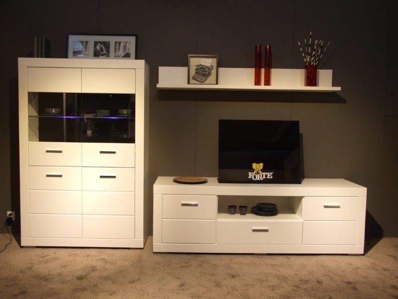 Wohnwand Steffi I mit blauer LED Beleuchtung 3tlg in der Farbe - moderner wohnzimmerschrank mit glastüren und led beleuchtung