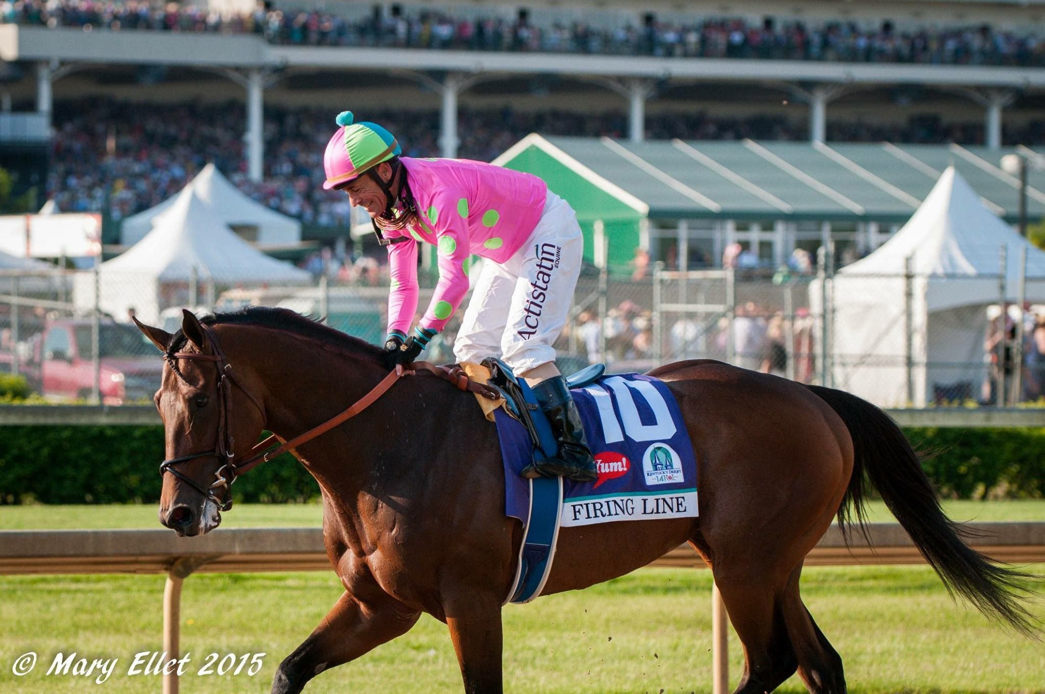 2015 Kentucky Derby Firing Line With His Jockey Gary Stevens Placed Second In The Derby 5 2 2015 Belmont Stakes Kentucky Derby Riding Helmets
