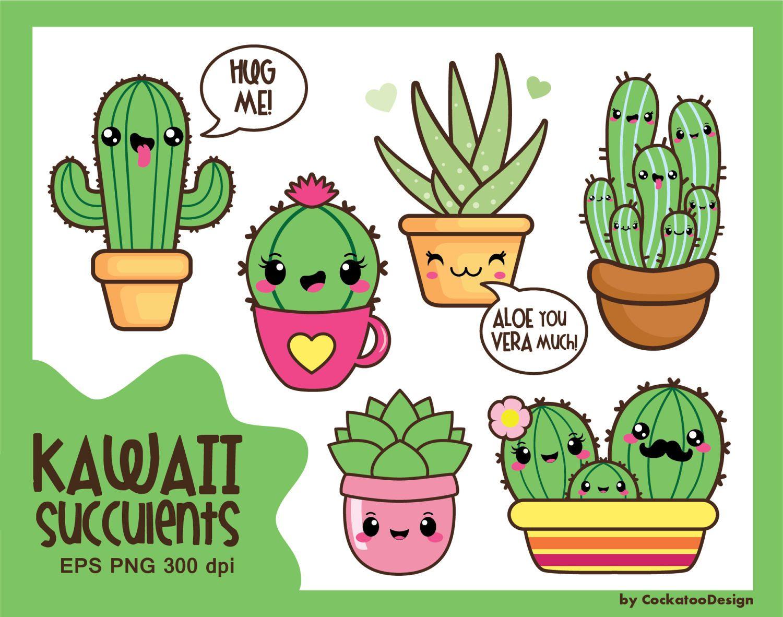Kawaii Cactus Clipart Succulent Clipart Kawaii Cacti Etsy In 2021 Cactus Clipart Kawaii Clipart Valentine Clipart