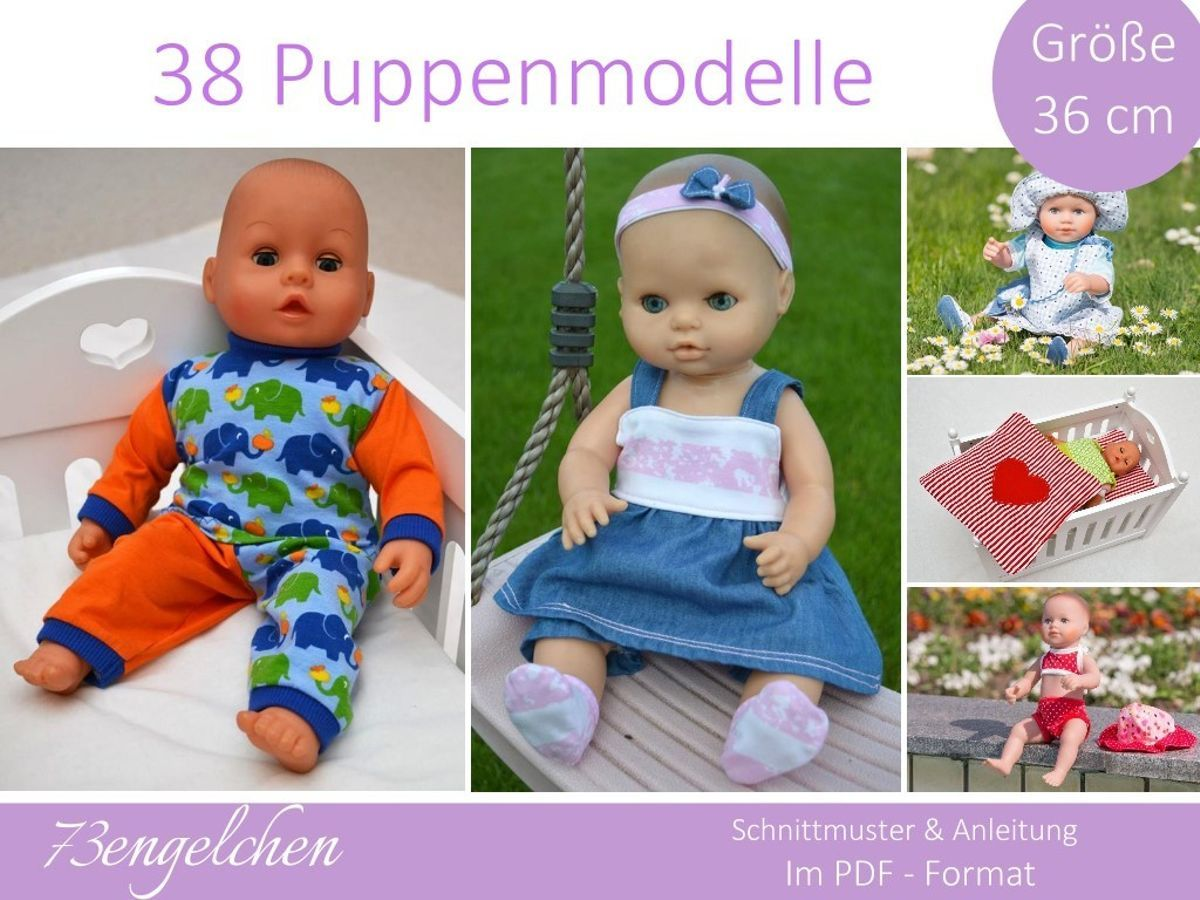 Puppenkleidung 36cm | Schnittmuster puppenkleidung, Puppenkleidung ...