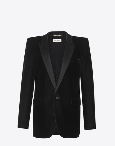 f73ba75524 SAINT LAURENT Tuxedo Jacket With Square-Cut Shoulders In Black ...