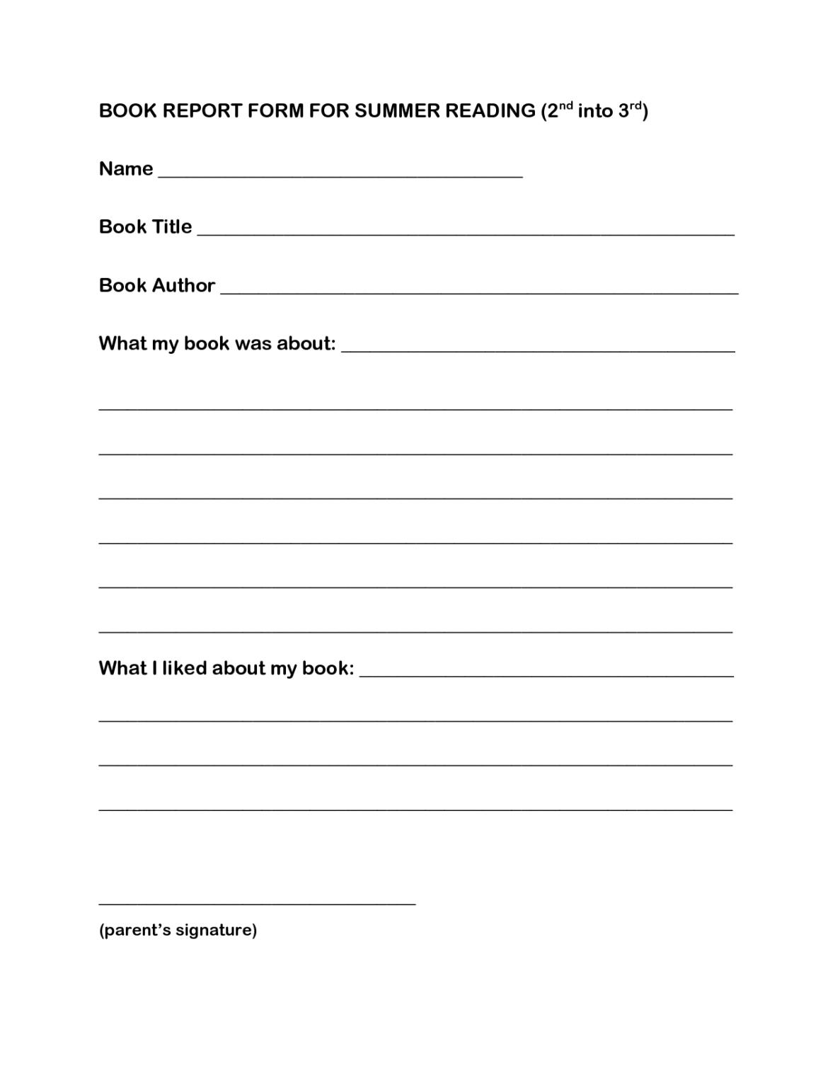 Worksheet Book Report