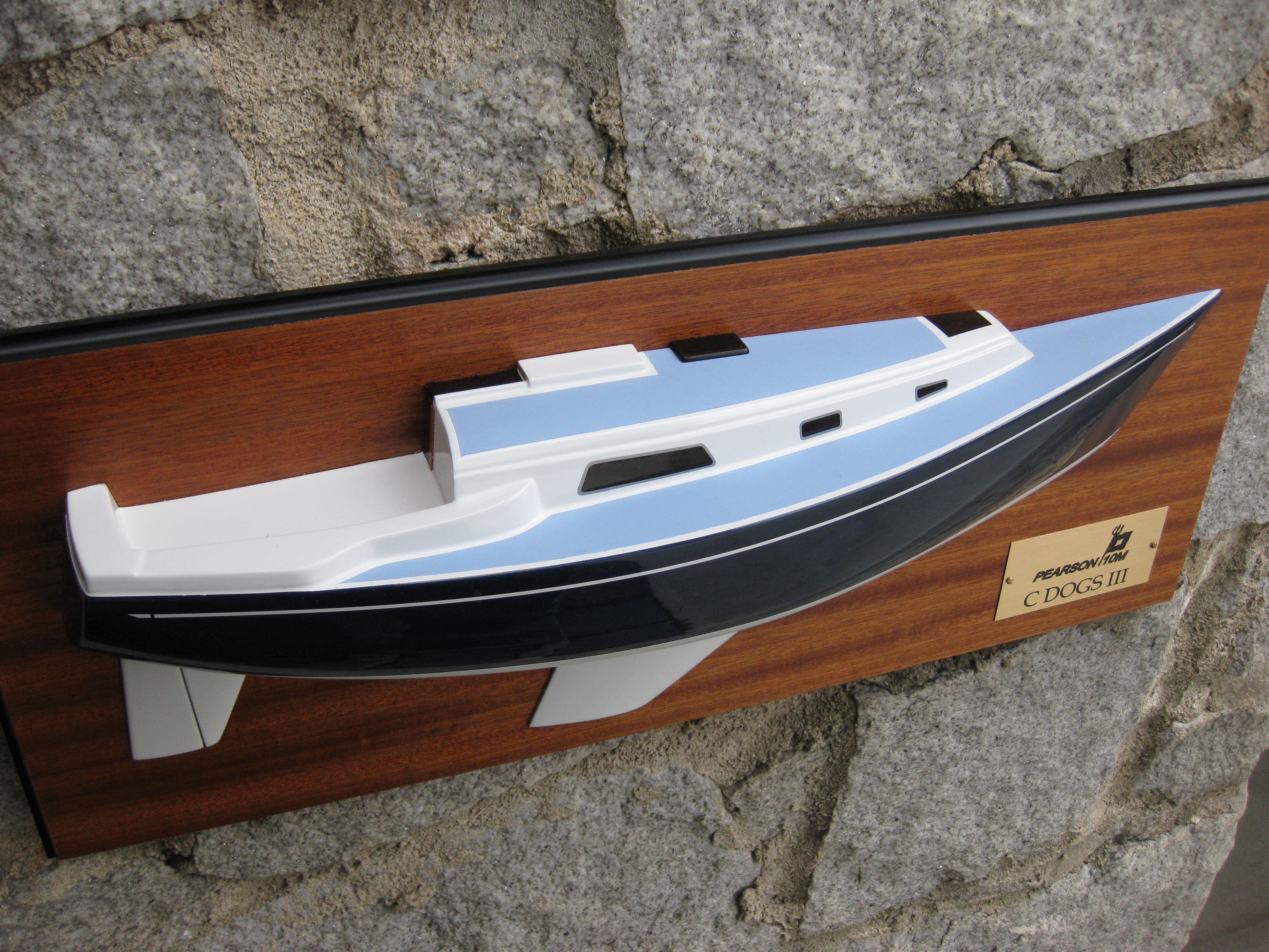 This Is The 21 Half Hull Model Of Pearson 10 M Sailboat Mounted On Mahogany Backboards Size Backboard 24 X