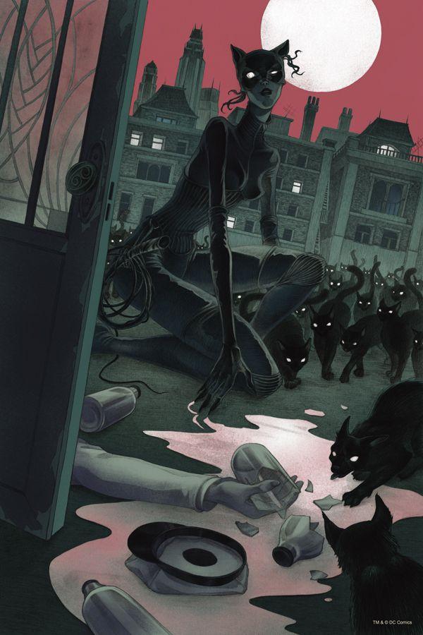 Catwoman by MadLittleClown, Dc Comics comic, concept art, illustration art, inspirational art, cats