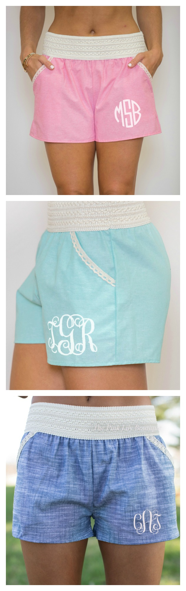 Monogrammed shorts for summer! Snag them for just $36 at pinklily.com