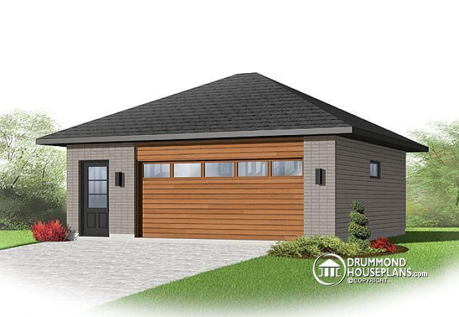 W2974V2 Twocar contemporary garage plan with storage space