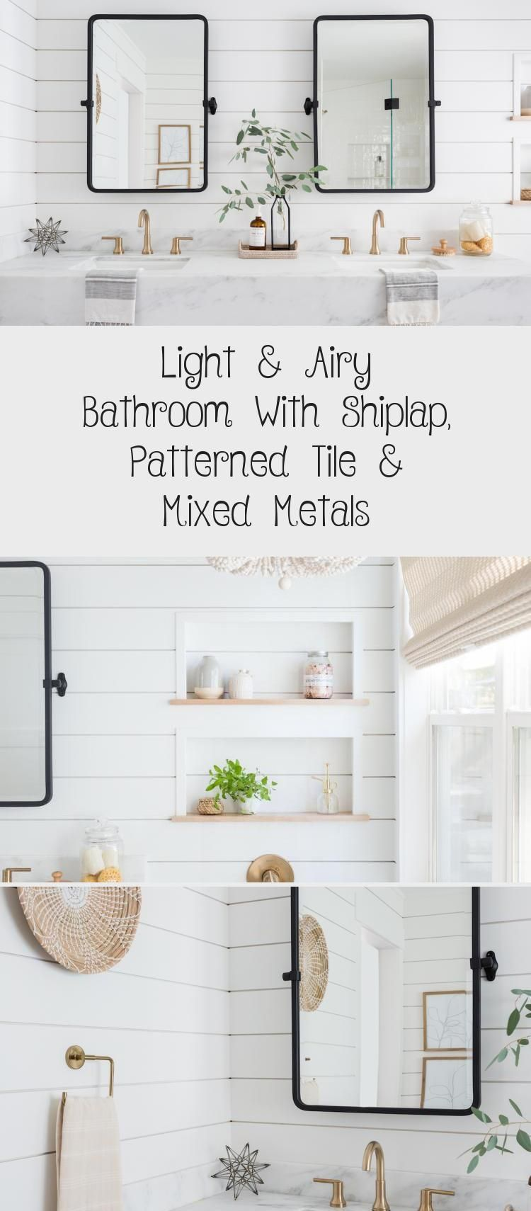 Light  Airy Bathroom With Shiplap Patterned Tile  Mixed Metalsairy