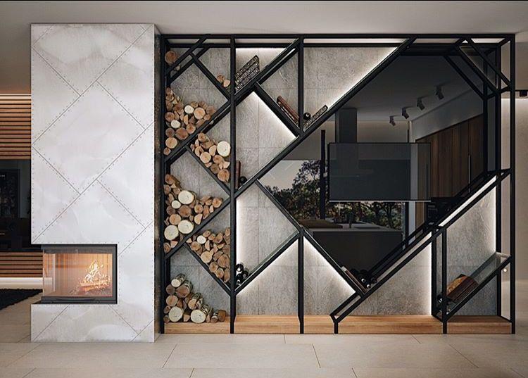 Pin By Paris  On Shelves    Modern Fireplaces Modern