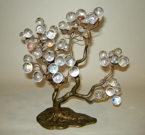 Signed bijan metal tree sculpture w glass balls mid