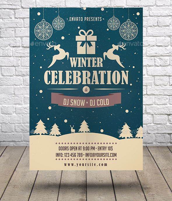 Winter Celebration Flyer Ai Illustrator Flyer Template And Event