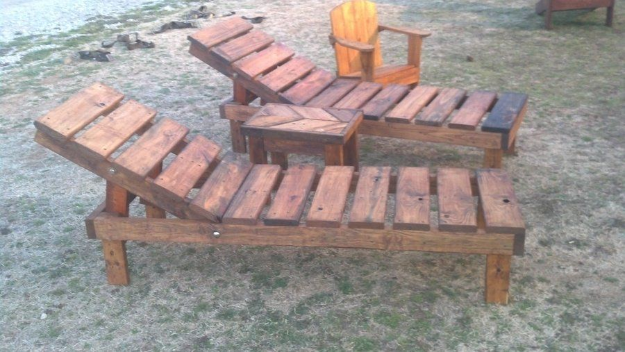 Reclaimed Pallet Wood Chaise Lounge Chairs Adjustable With Chevron
