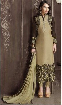 b103003475 Tan Brown Color and Velvet Fabric Party Wear Stitched Salwar Suit # heenastyle , #salwar