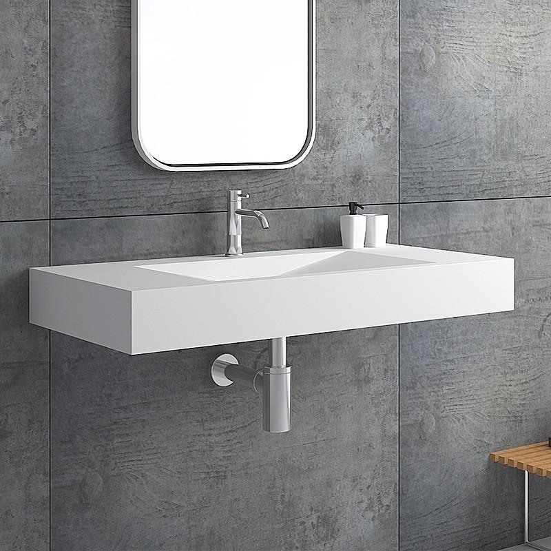 Matte Glossy White Wall Mount Rectangular Floating Sink Solid Surface Stone Resin Bathroom V Shaped Sink Floating Sink Small Bathroom Sinks Floating Bathroom Sink