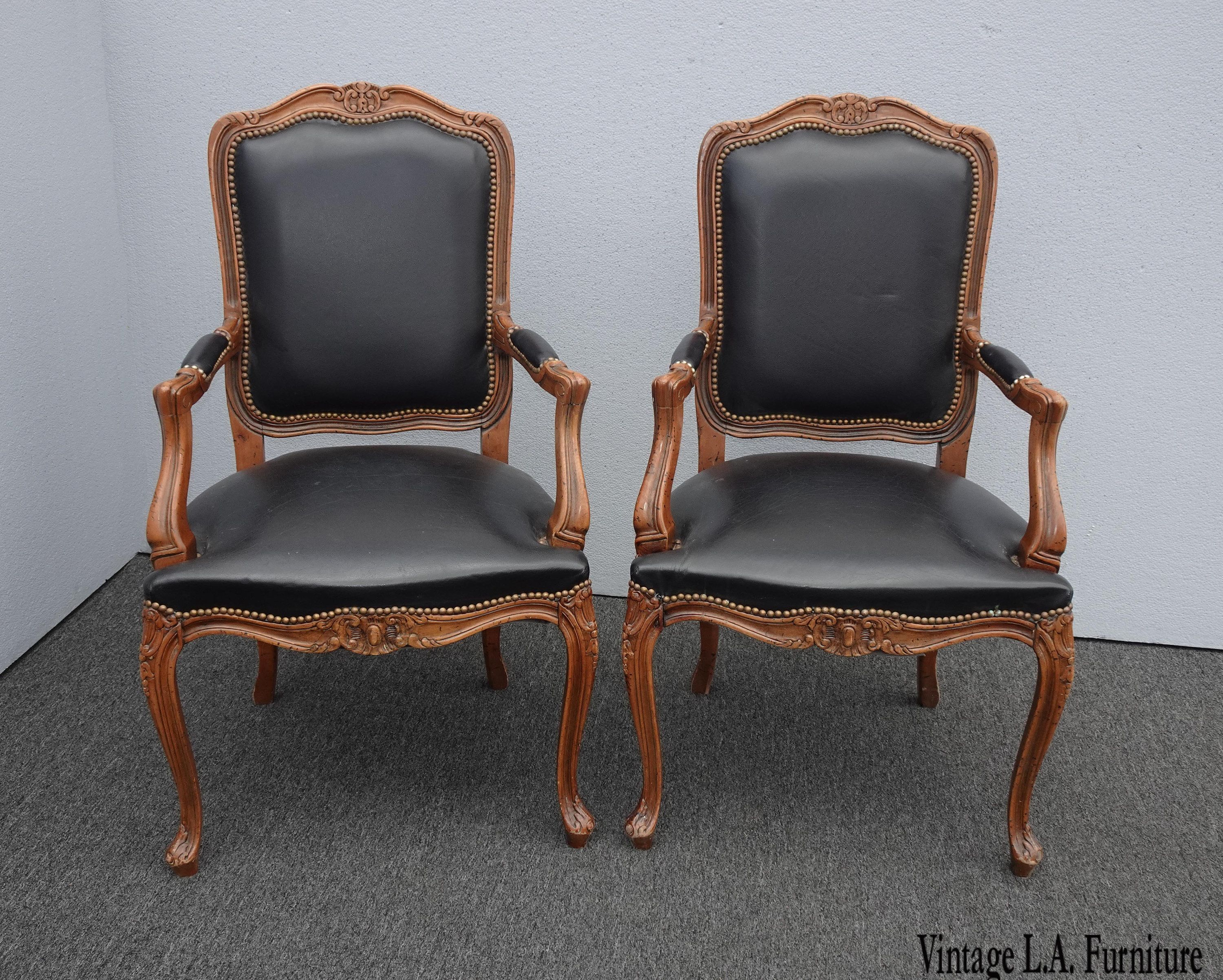 Phenomenal Pair Vintage French Provincial Black Leather Chairs Made In Squirreltailoven Fun Painted Chair Ideas Images Squirreltailovenorg