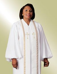 Womens Clergy Robe Wesley White with Gold Trim - http   www.beautifuldiy 015542895