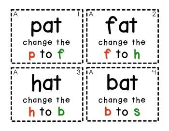Word Family Task Cards [Changing Beginning Sounds