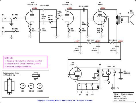 kalamazoo model one amp schematic valves valve amplifier guitar amp speaker box design