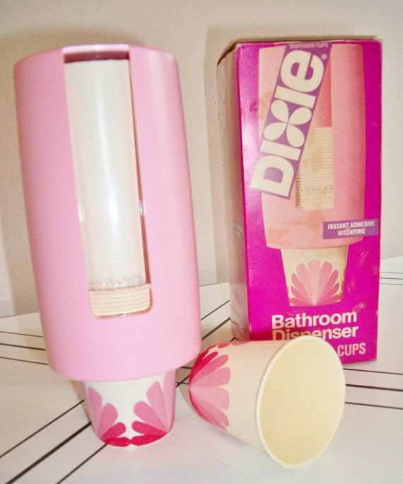 This Pink Dixie Cup Dispenser Is New In The Box And Filled With Orginal Cups Would Be Perfect For A Bathroom