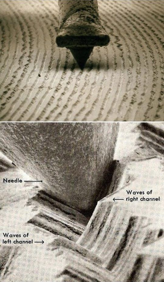 Microscopic photo of vinyl record grooves is part of Vinyl records - When you look really closely at record grooves, like at 1000x magnification, you can see the waveforms of the music itself  Sooo c