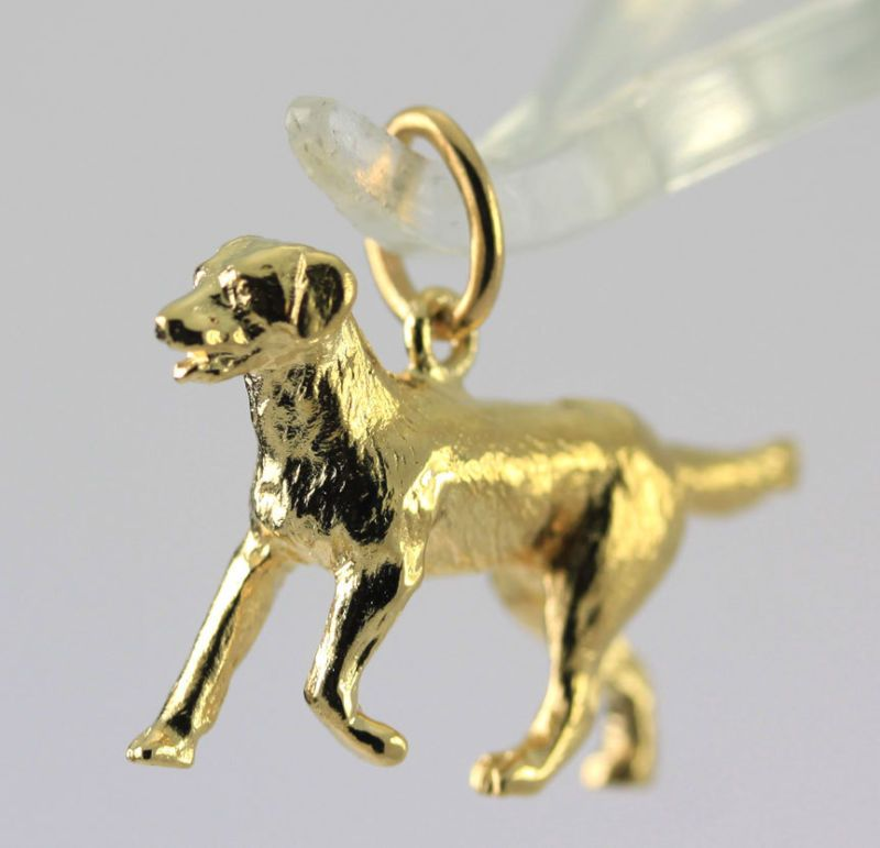 14k Yellow Gold Labrador Retriever Dog Charm Pendant Gold Dog