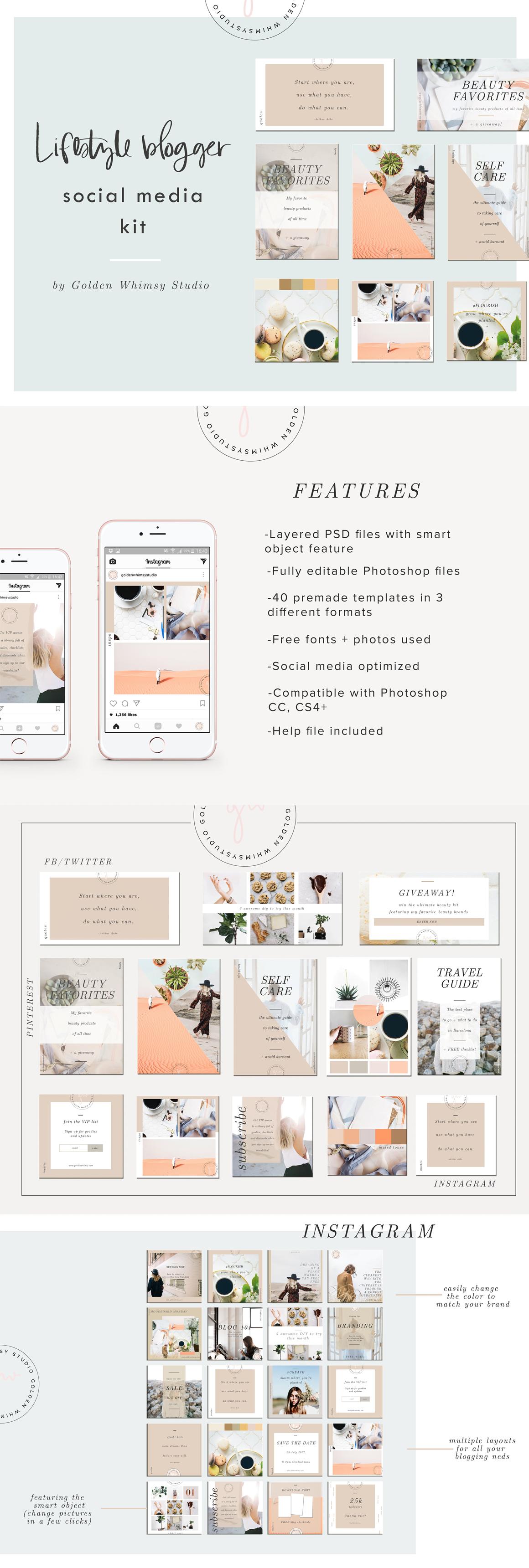 Lifestyle Blogger Social Media Kit Template PSD