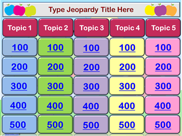 Powerpoint Jeopardy Template Every Link In Place You Just Type In