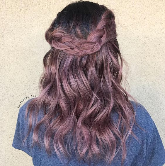 20 Rose Gold And Purple Balayage Hairstyles Altrosa Haar Haar Styling Balayage Frisur