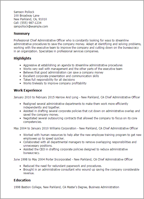 Resume Templates Chief Administrative Officer