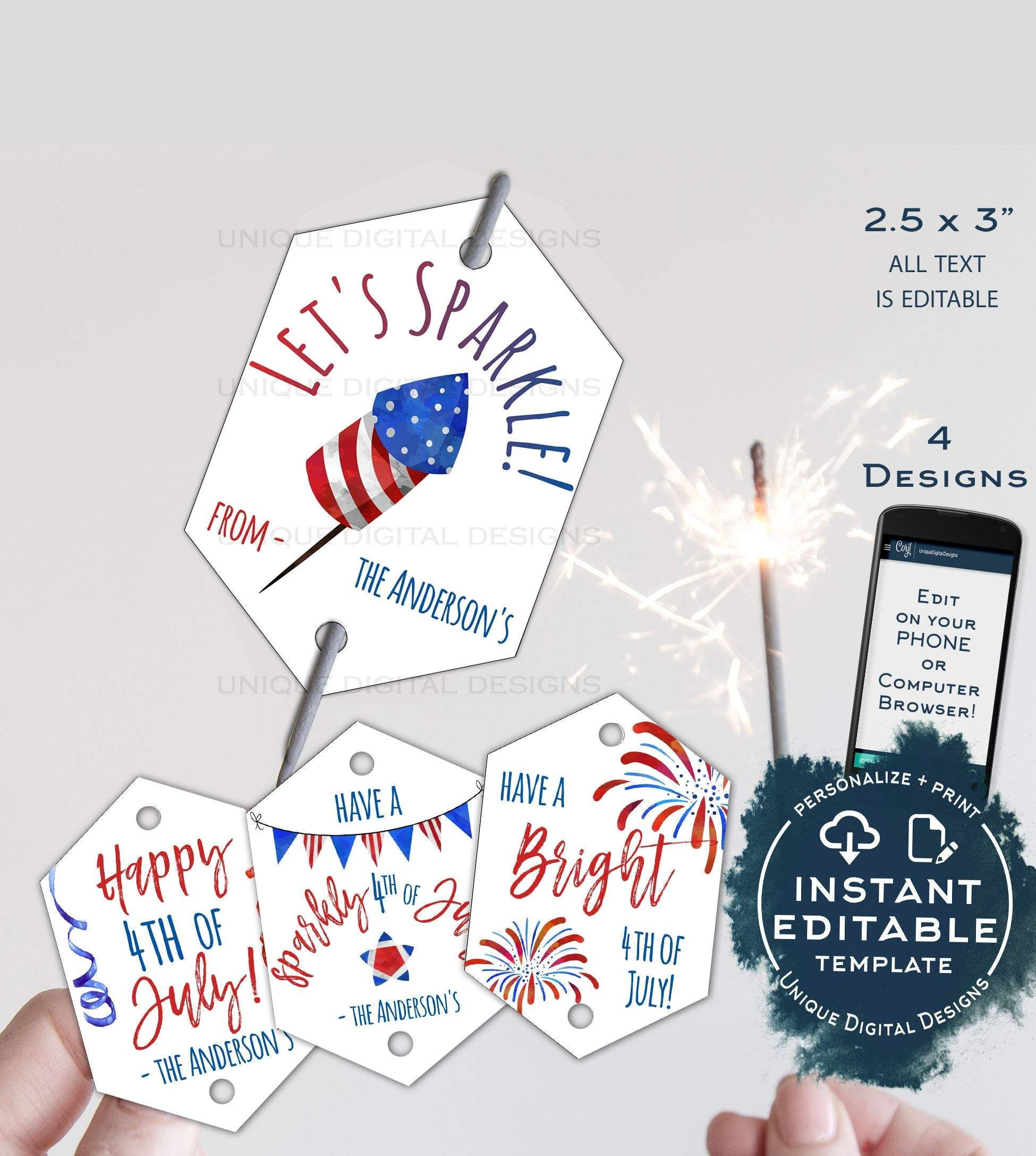 Editable Sparkler Tag 4th Of July Printable Favor Tags