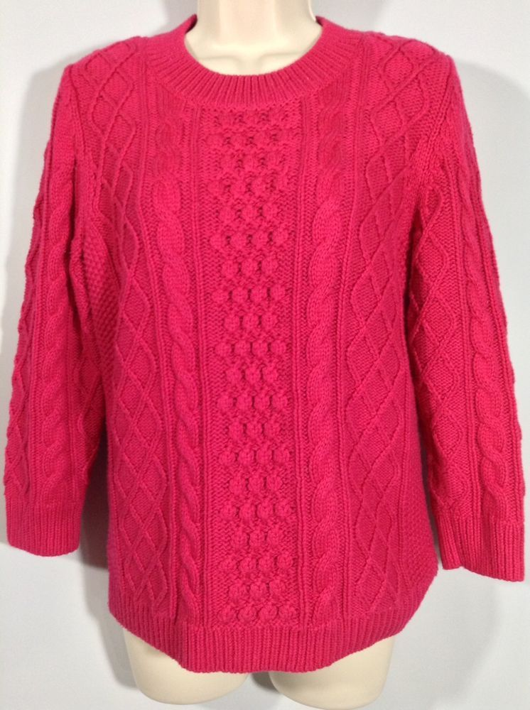 Cable Knit Sweater TALBOTS M Petite Mp Bright Hog Pink Chunky Pullover Women   Talbots  pink  PulloverSweater  WinterGames 2a7c912b9