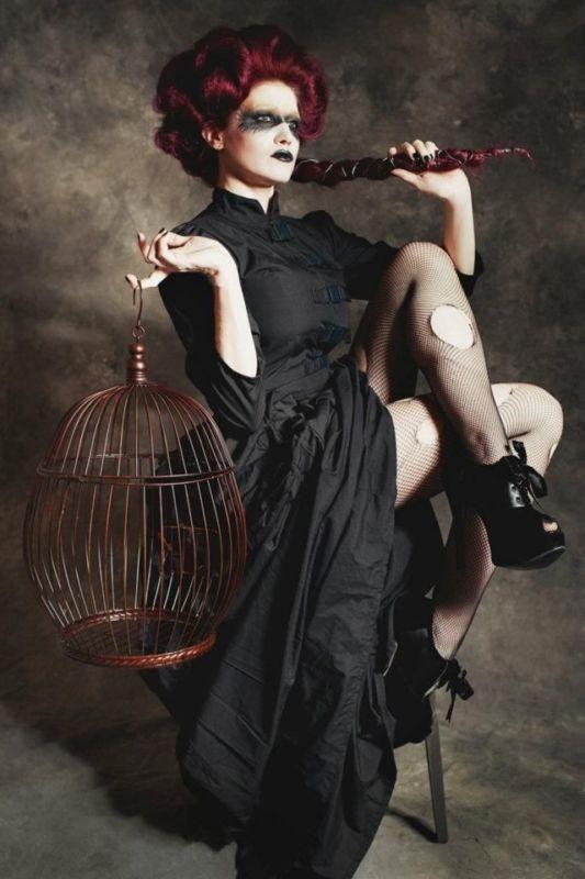 Gothic Steampunk Victorian Black Bustle Dress with Cargo Pockets Custom Size