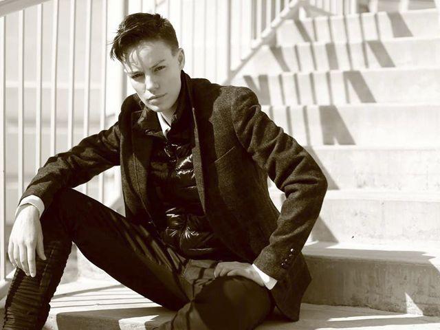 Elliott Sailors- woman modelling as a man for longer career .