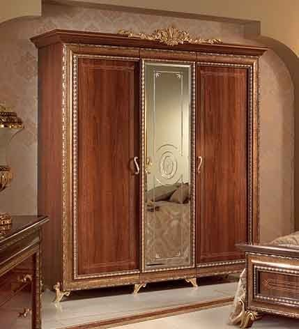 Inspirational Giotto armadio piccolo Klassische Nussbaum Kleiderschrank mit T ren und zentrale Spiegel