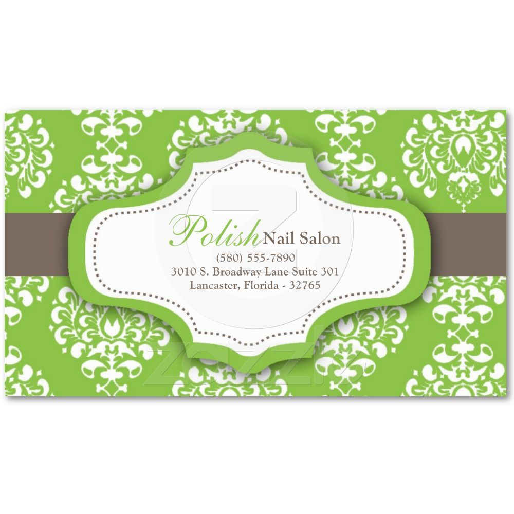 100 green damask nail technician business card business cards 100 green damask business cards from zazzle reheart Gallery