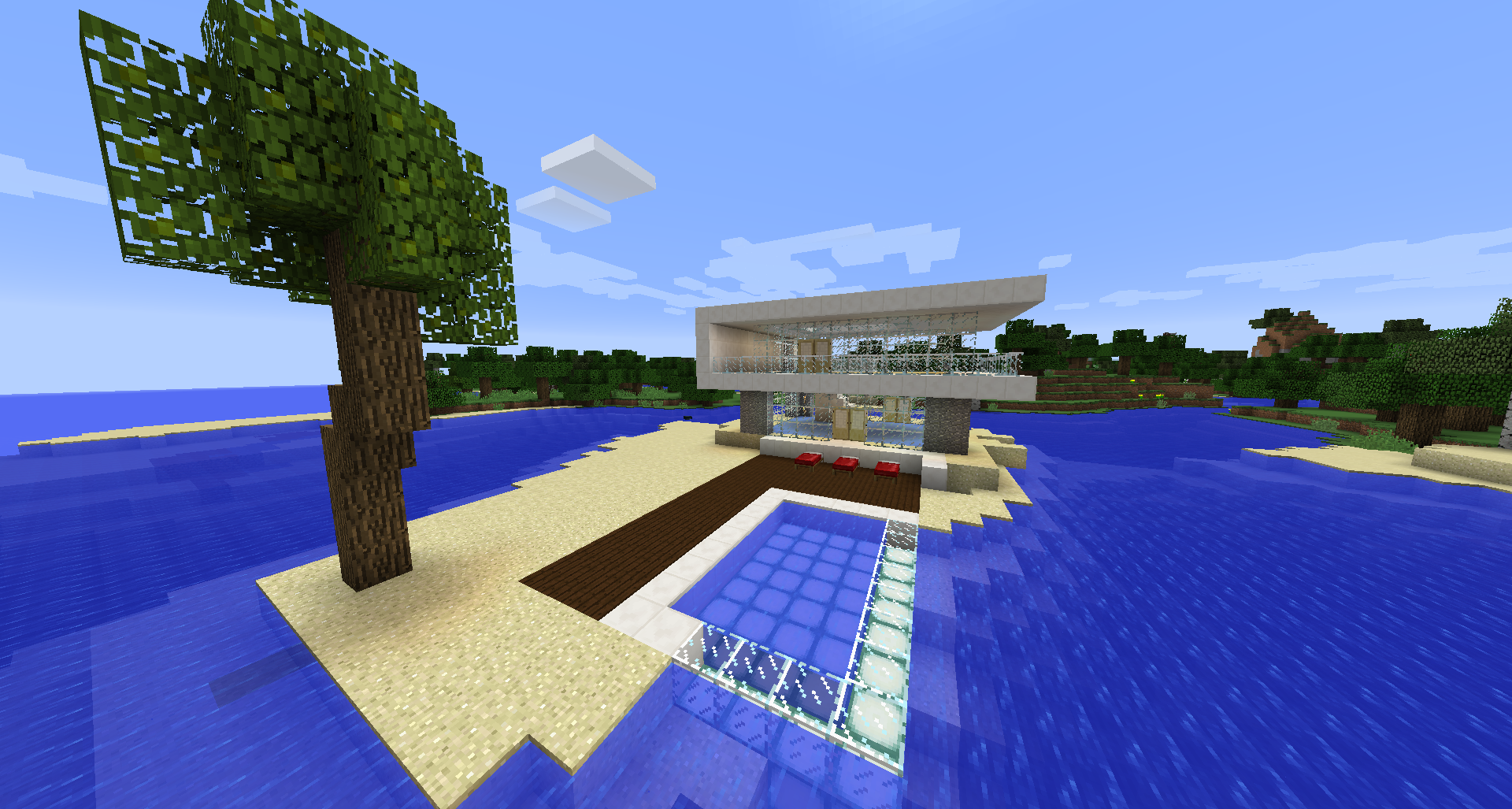 Minecraft Beach Hotel With Infinity Pool