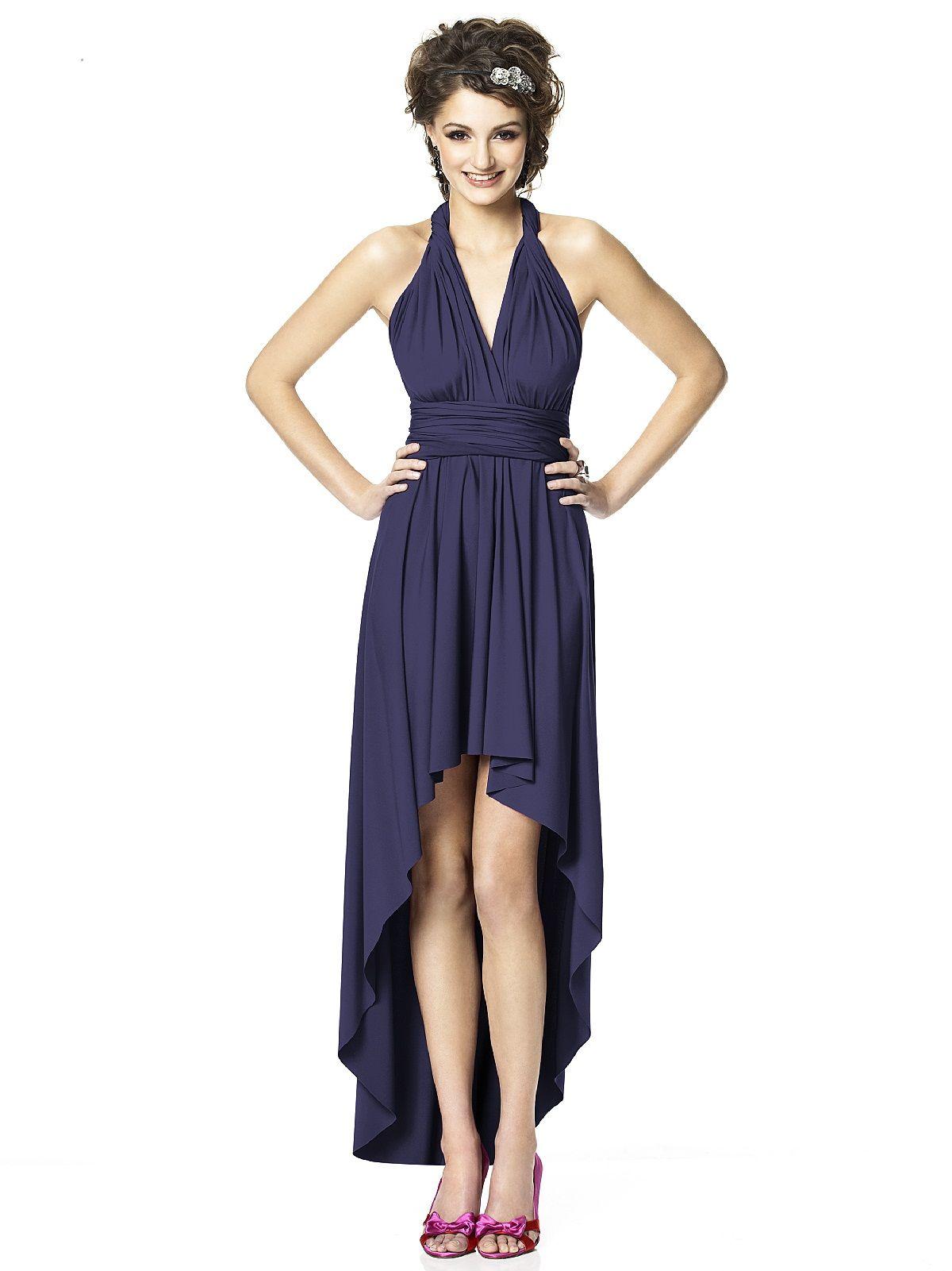 Vestido azul marino corto-largo con diferentes posiciones para los ...