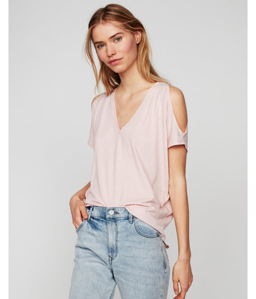 8a48cbe4 Express One Eleven V-Neck Cold Shoulder London Tee Pink Women's XX Small